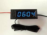 Часы электронные с двумя термометрами, вольтметром и регулировкой яркости. Синий LED.