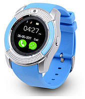 Наручные смарт часы V8 Smart Watch синиии. Лучшее качество