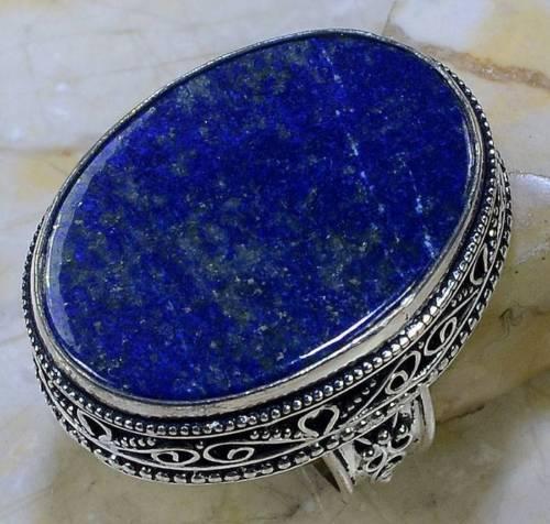 Ляпис-лазурит кольцо с натуральным лазуритом в серебре 18 размер Индия