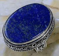 Ляпис-лазурит кольцо с натуральным лазуритом в серебре 18 размер Индия, фото 1