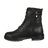Не высокие женские ботинки на шнуровке черного цвета, кожа, фото 1