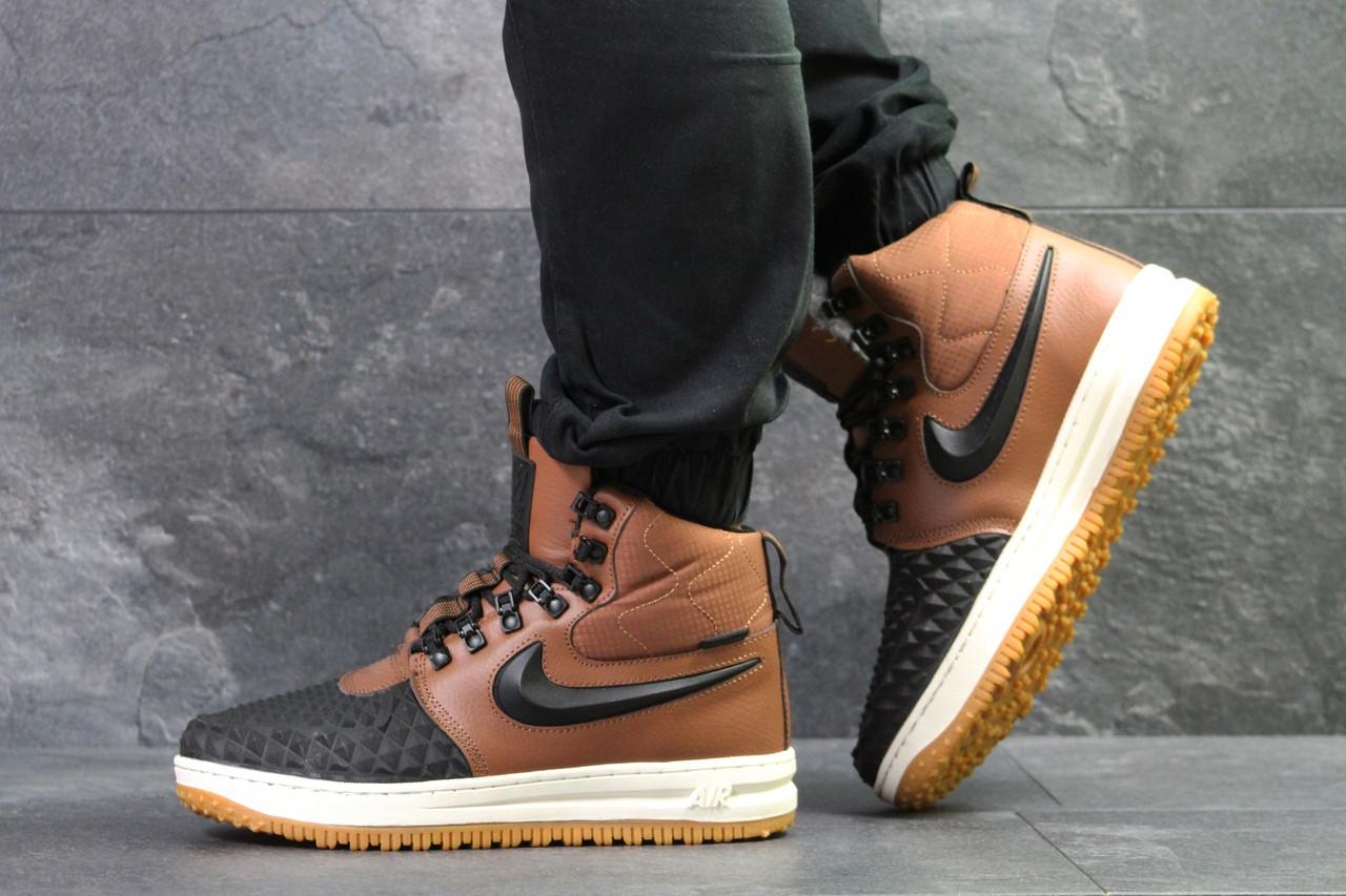 Кроссовки мужские Nike Lunar Force 1 зимние высокие найки стильные молодежные (коричневые), ТОП-реплика