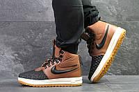 Кроссовки мужские Nike Lunar Force 1 зимние высокие найки стильные молодежные (коричневые), ТОП-реплика, фото 1