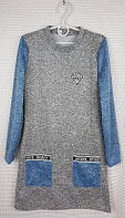Подростковое платье с кармашками на девочку р. 152-164 серый+джинс