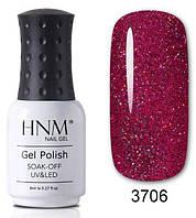 Гель-лак HNM голографическое сияние, красный 3706
