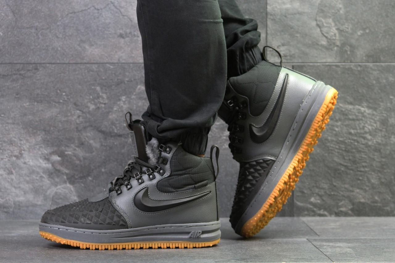 Кроссовки зимние мужские Nike Lunar Force высокие найк качественные молодежные на шнурках (серые), ТОП-реплика