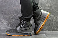 Кроссовки зимние мужские Nike Lunar Force высокие найк качественные молодежные на шнурках (серые), ТОП-реплика, фото 1