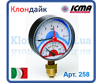 Icma Термоманометр радиальный с запорным клапаном. 4 бар