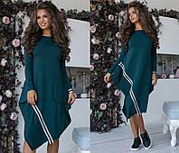 eb03bdf0a5a Трикотажное платье свободного кроя зеленого цвета с манжетами клеш ...