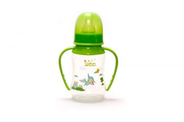 Бутылочка выгнута с ручками и силиконовой соской 125 мл.LI 146