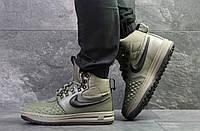 Зимние мужские кроссовки Nike Lunar Force 1 качественные молодежные найки на шнурках (зеленые), ТОП-реплика, фото 1