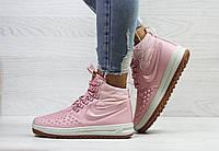 Кроссовки женские Nike Lunar Force 1 Duckboot  зимние на меху молодежные яркие теплые (розовые), ТОП-реплика