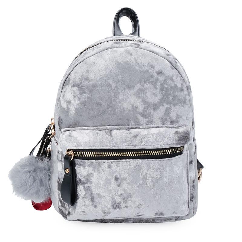Рюкзак женский велюровый Amelie Velor серый