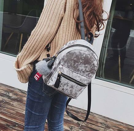 Рюкзак женский велюровый Amelie Velor серый, фото 2