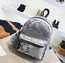 Рюкзак женский велюровый Amelie Velor серый, фото 3
