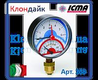 Icma Термоманометр радиальный с запорным клапаном. 6 бар