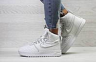 Зимние женские кроссовки  Nike Lunar Force 1 топовые на меху, качественные стильные найки (белые), ТОП-реплика, фото 1