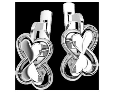 Серьги серебряные Два сердца 41193