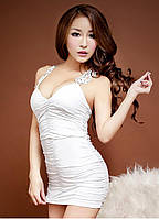 Платье Белое с Гипюровой Вставкой S/M