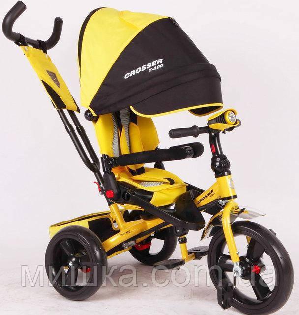 Azimut Crosser T-400 EVA детский трехколесный велосипед желтого цвета