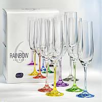 Набор бокалов для шампанского Bohemia Rainbow 190 мл 6 пр b40729-D4641