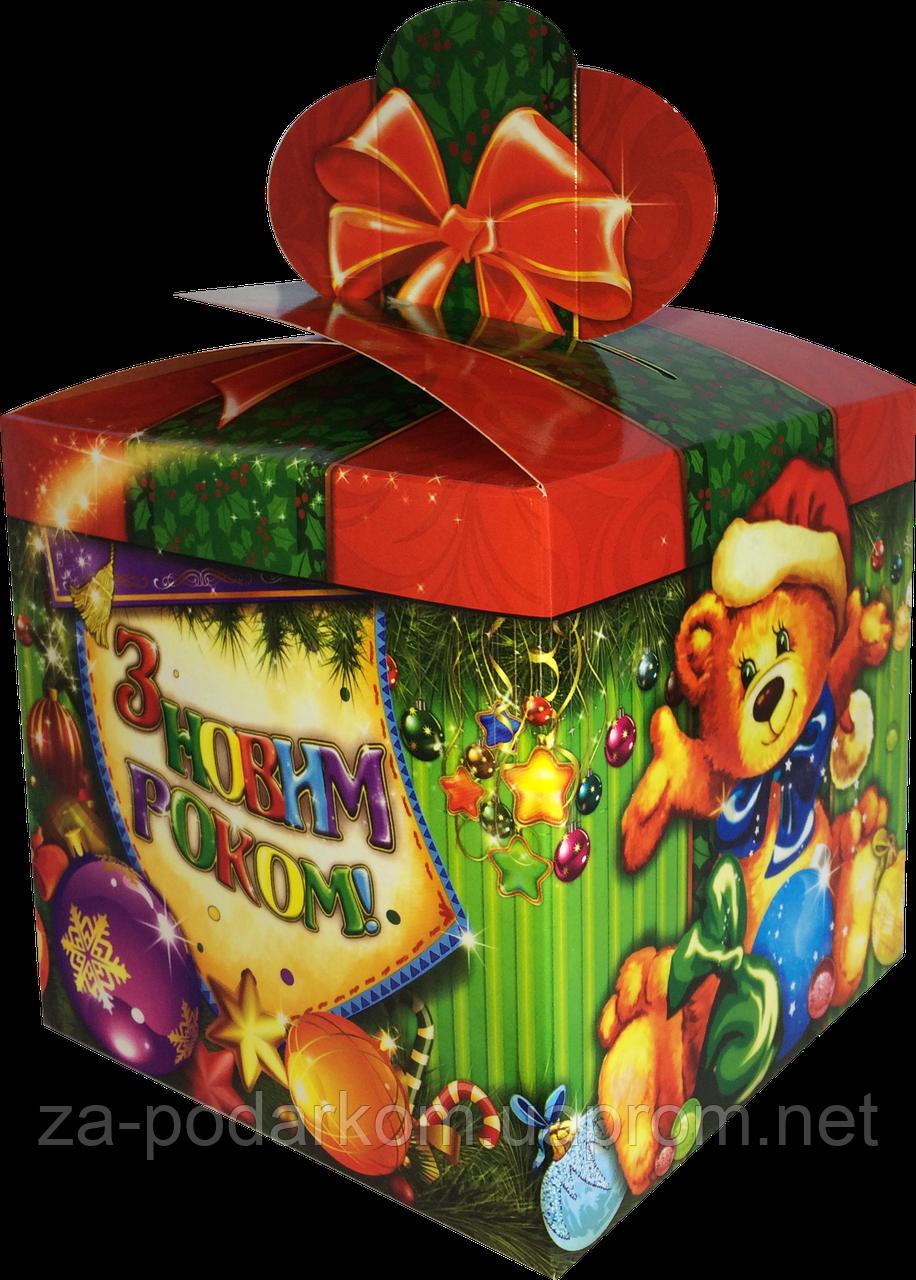 """Новорічна Упаковка """"Бант Ведмежа"""" для солодких подарунків 500-700 г"""