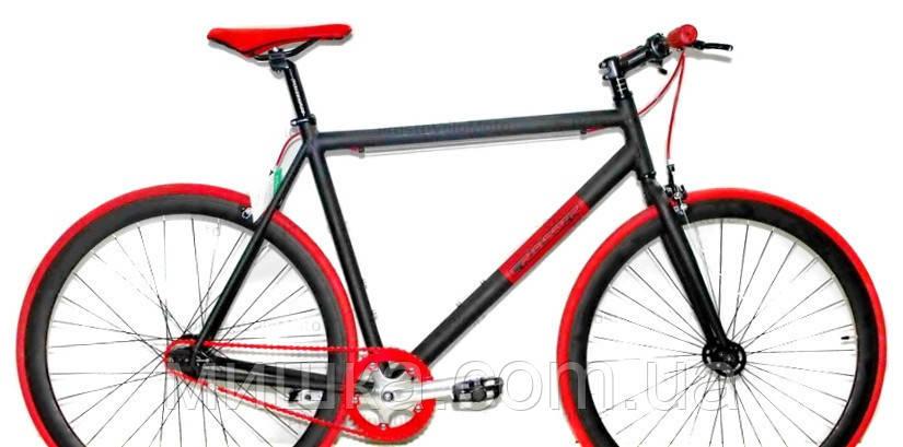 """Велосипед горный CROSSER fix gear 28"""" алюминиевый черно-красный"""