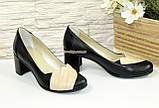 Туфли кожаные женские на каблуке с бежевой вставкой., фото 4