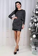 Платье мини комбинированное эко кожей с накладными карманами