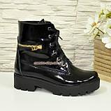 Ботинки женские зимние лаковые на шнуровке, подошва утолщенная, фото 2