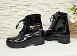 Ботинки женские зимние лаковые на шнуровке, подошва утолщенная, фото 3
