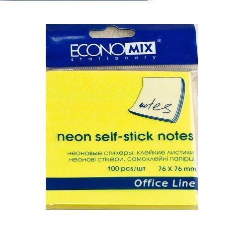 Блок для заметок с клейким шаром 76х76мм, 100л, неон желтый (Economix)