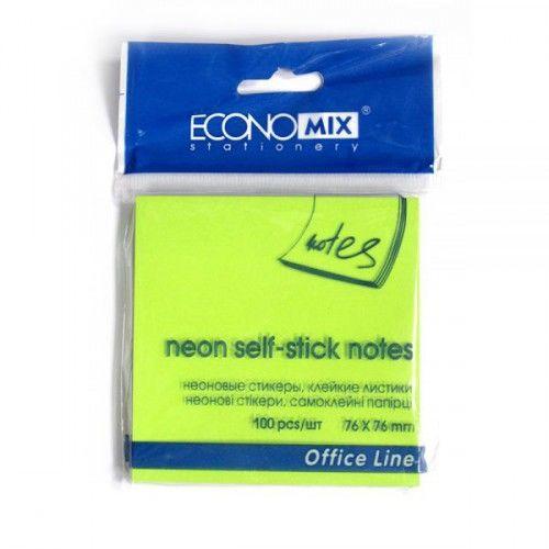 Блок для заметок с клейким шаром 76х76мм, 100л, неон салатовый (Economix)