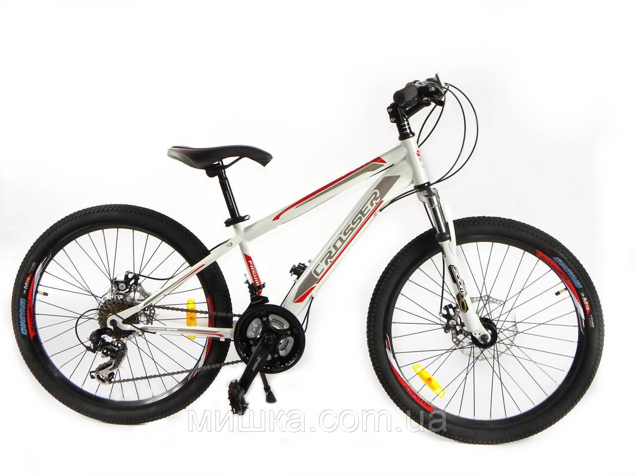 """Велосипед горный Crosser FOX G-FR/D-1 24"""" белый"""