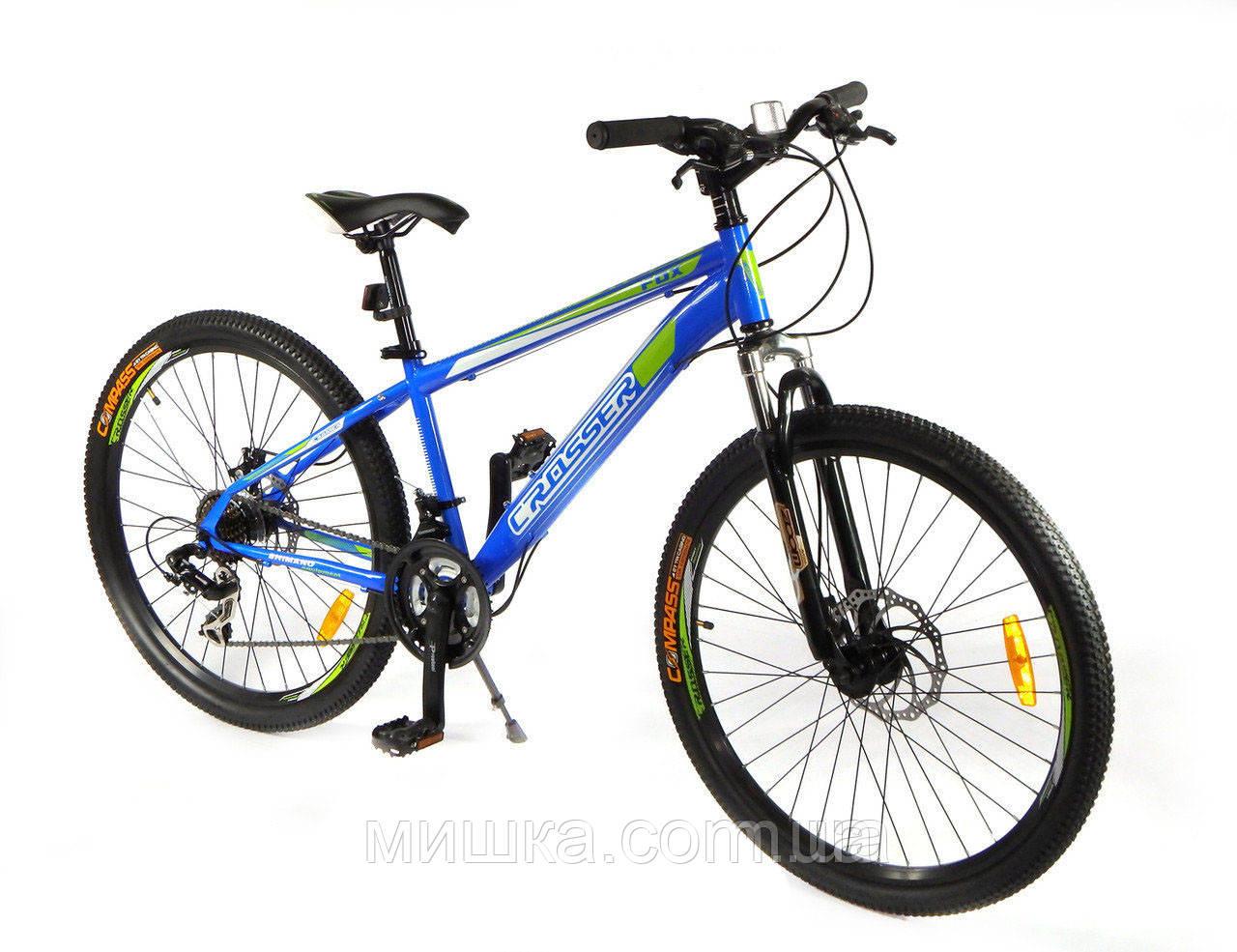 """Велосипед горный Crosser FOX G-FR/D-1 24"""" синий"""