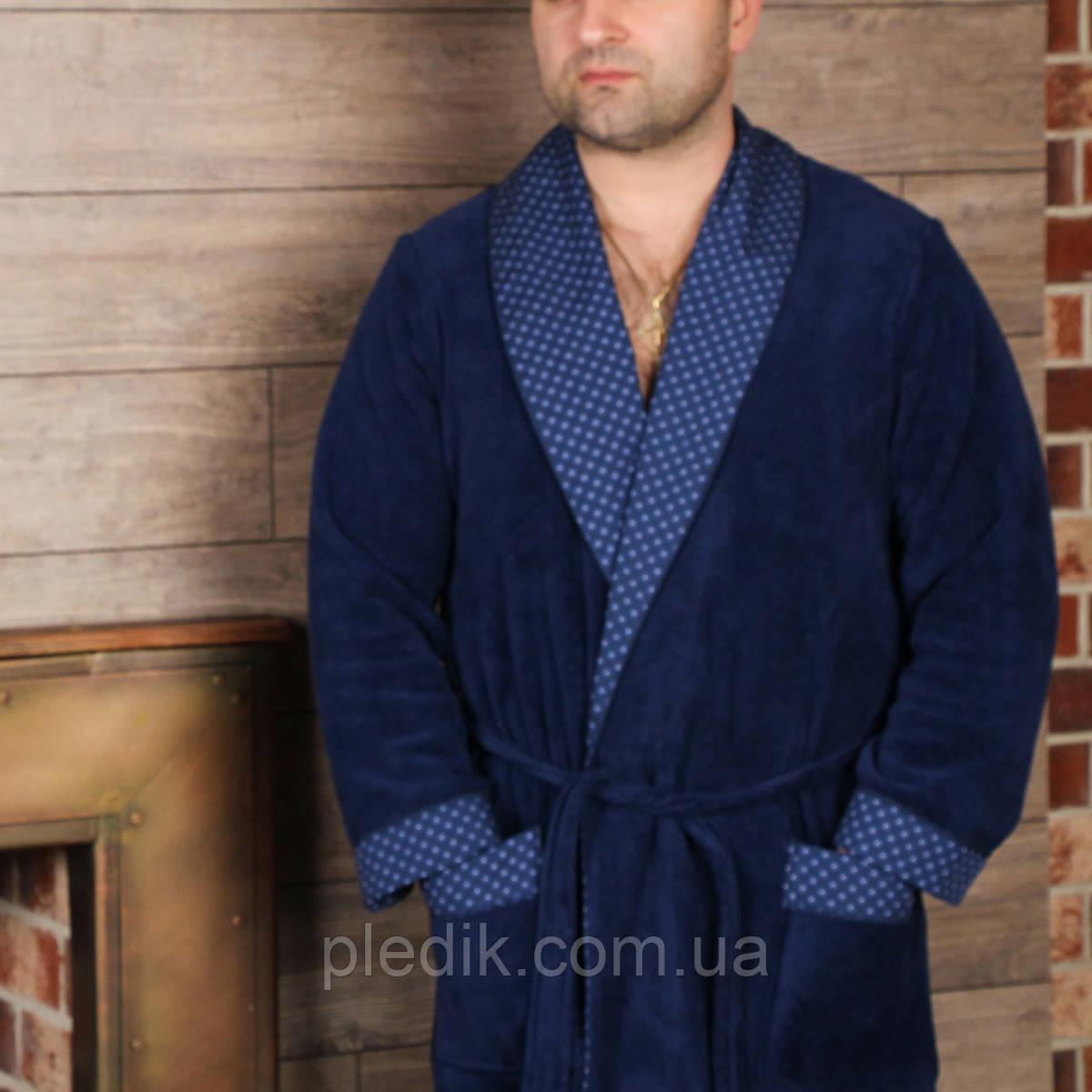 Махровый мужской халат VENTURA. Синий, все размеры.