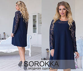 Привлекательное женское платье с гипюром Изумрудное. (3 цвета) Р-ры: 48-54. (138)832.  , фото 2