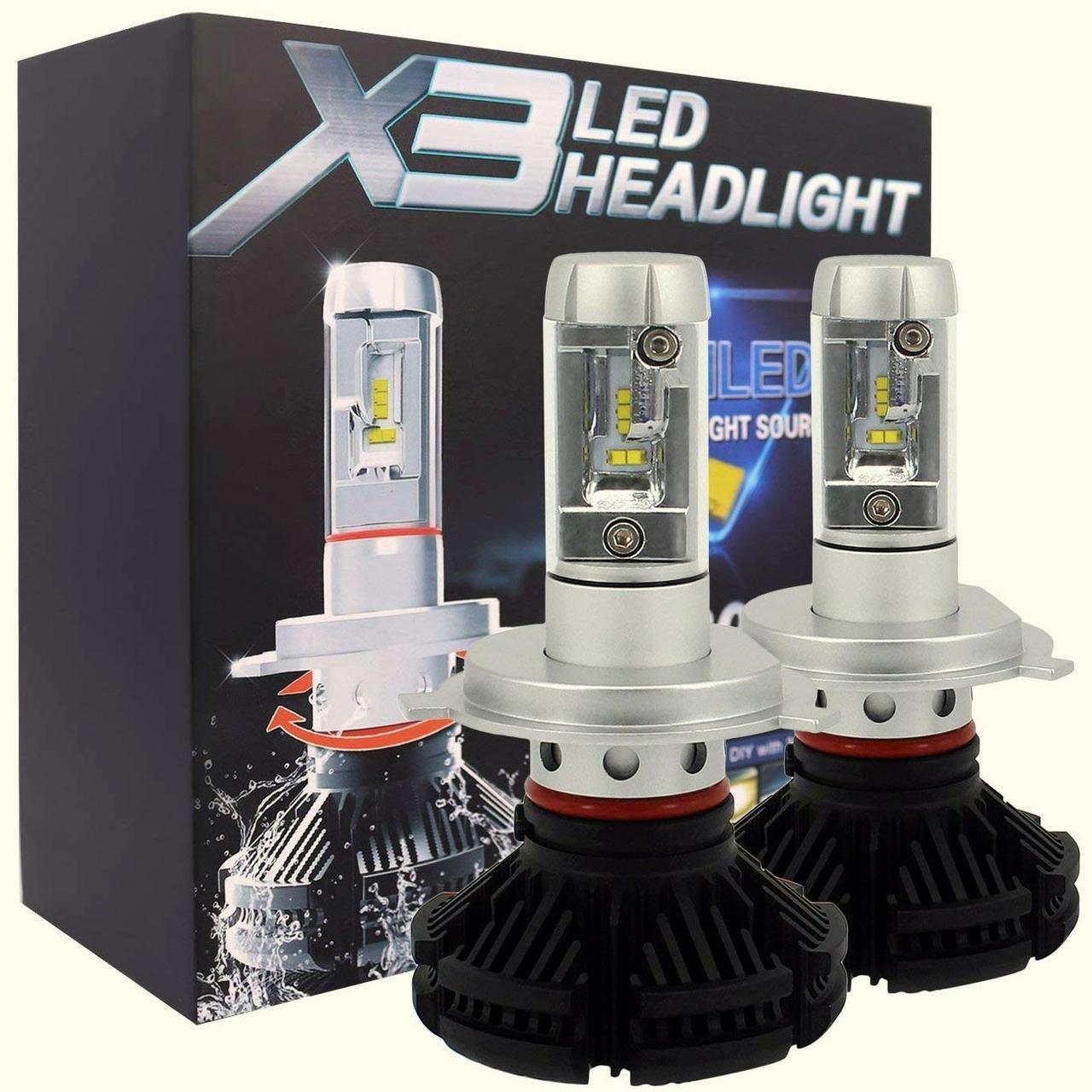 Лампа светодиодная X3  H4 6000 Lum, цвет свечения 3000/6500/8000К, 2 шт/компл.