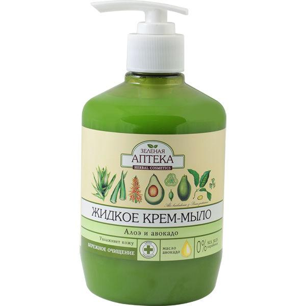 Жидкое мыло Зеленая Аптека 460г алое+авокадо с дозатором  (Лечебные травы)