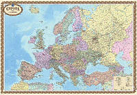"Карта ""Европа. Политическая карта"", масштаб 1:4 000 000, 158х108см, на картоне, на планках (Украина)"