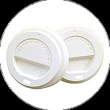 Кришки для паперових стаканів КР 75 250 мл 50 шт білі / коричневі
