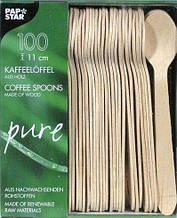 Ложечка деревянная кофейная 11см 100шт PS-10085