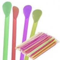 Ложечка-трубочка цветная 20см d=6мм 100шт К