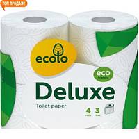 Эколо Делюкс 3х слойная туалетная бумага 4 шт