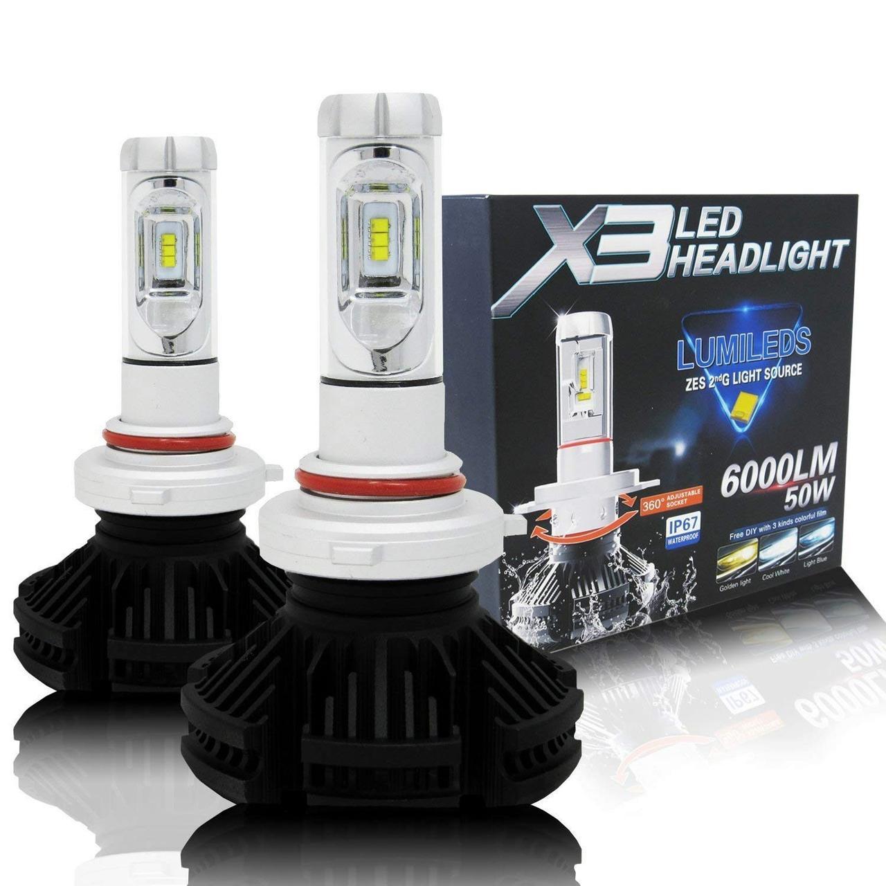 Лампа светодиодная X3  HB3/9005 6000 Lum, цвет свечения 3000/6500/8000К, 2 шт/компл.