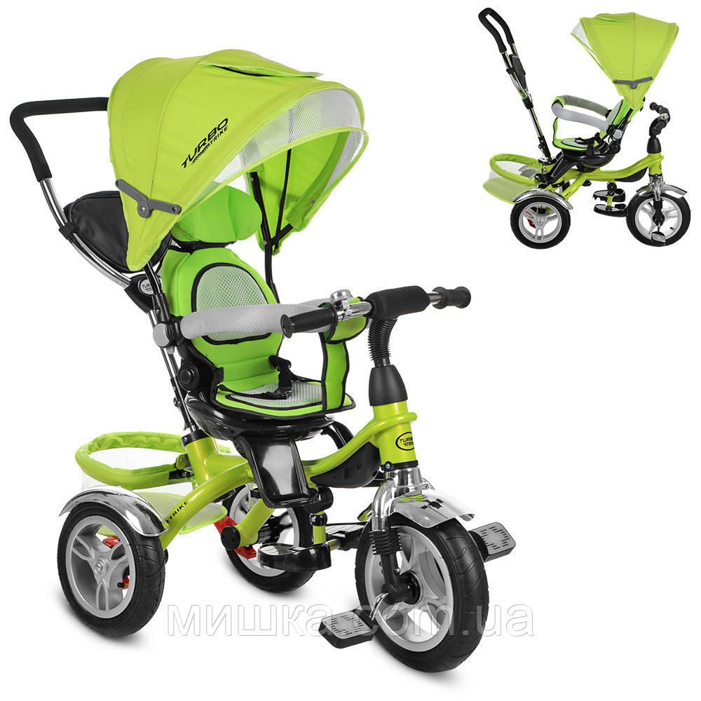Детский велосипед Turbotrike M 3114-4A трехколесный, колеса надувные, поворотный, зеленый