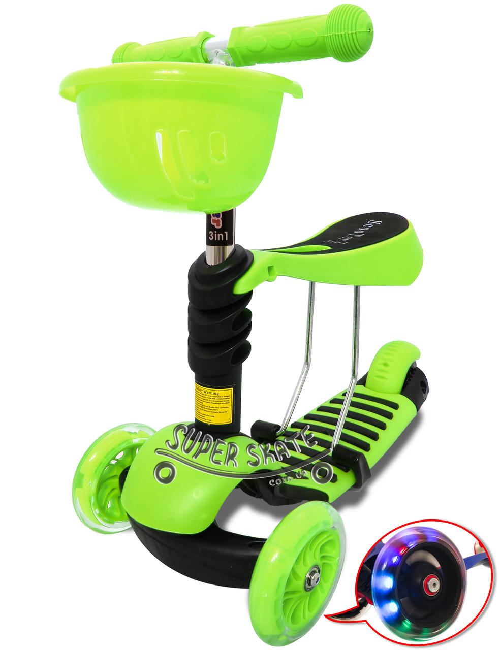 Детский Самокат Беговел с сиденьем и корзинкой Scooter Simple - 3в1 - Салатовый