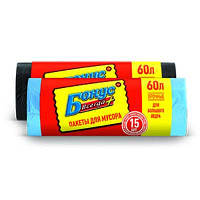 Пакеты для мусора 60л 15шт голубые Бонус 60х80см 12мк 16100510