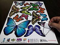 Наклейки бабочки самоклеющиеся для украшения дома 14 шт