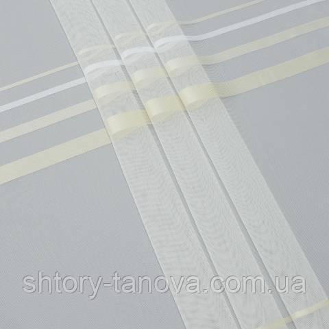 Тюль с утяжелителем, полосы, кремово-белый